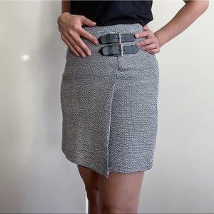 Kookai • Tweed skirt with leather buckles